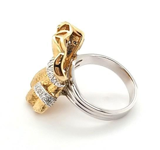 Handcrafted Vintage Diamond Bow Ring in 14K Gold - Peters Vaults