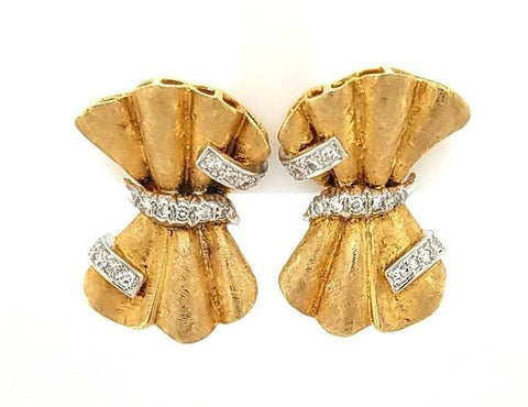 Handcrafted Vintage Diamond Bow Earrings in 14K Gold - Peters Vaults