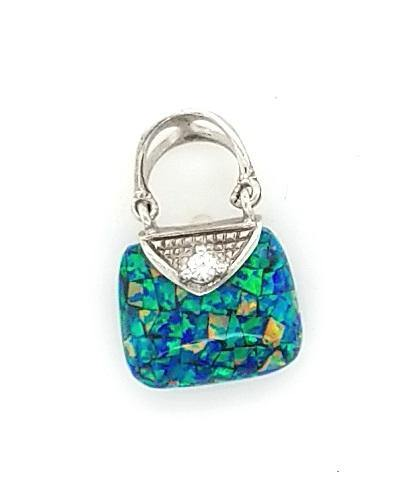 Adorable Mosaic Opal Pendant in Sterling Silver