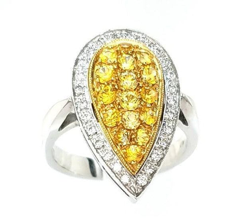 Dazzling Yellow Sapphire and Diamond Cocktail Ring in 18K Gold - Peters Vaults