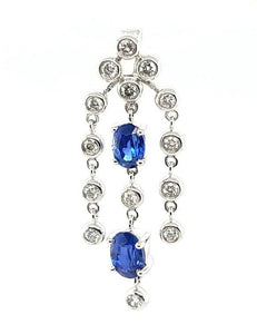 Exquisite Blue Sapphire and Diamond Drop Necklace in 18K gold - Peters Vaults