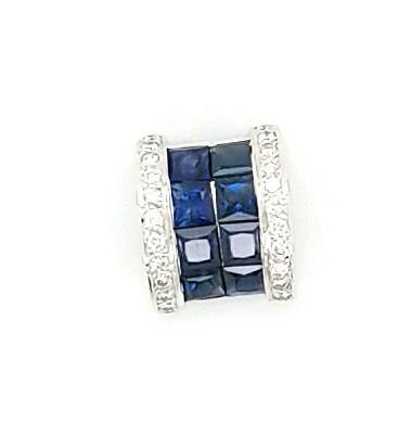 Princess Cut Sapphire and Diamond Slide Pendant in 18K Gold- Peters Vaults