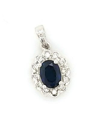 Princess Di Style Sapphire and Diamond Pendant in 14K Gold - Peters Vaults