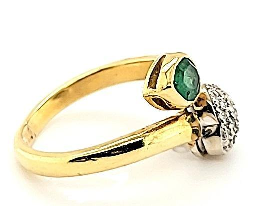 Vintage Emerald and Pave Diamond Ring with a Modern Design in 18K - Peters Vaults