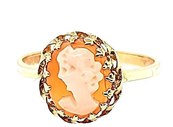 Vintage Italian Coral Cameo Ring in 14K - Peters Vaults