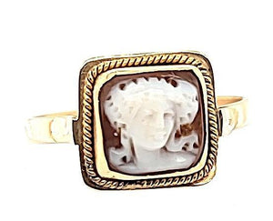 Antique Dark Coral Cameo Ring in 14K - Peters Vaults