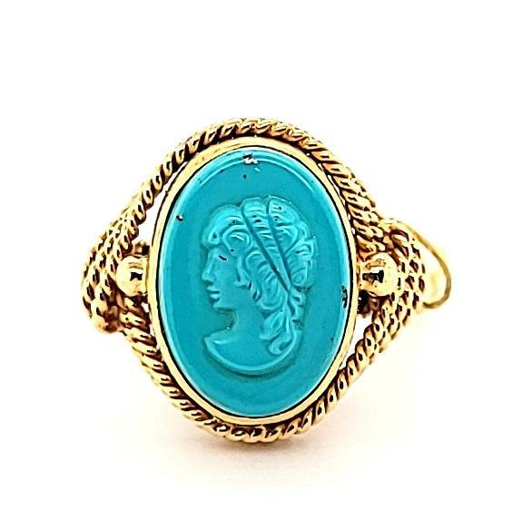 Ultra Rare Turquoise Vintage Cameo Ring in 18K Gold - Peters Vaults