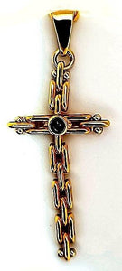 Modern Sapphire Cross made of Cool Chain Link in 18K - Peters Vaults