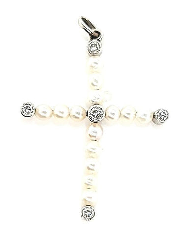 Ultra Rare Vintage Tiny Pearl and Diamond Cross in Platinum - Peters Vaults