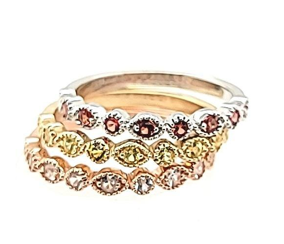 Tri-color set of Multi-Color Sapphires Stackables in 14K