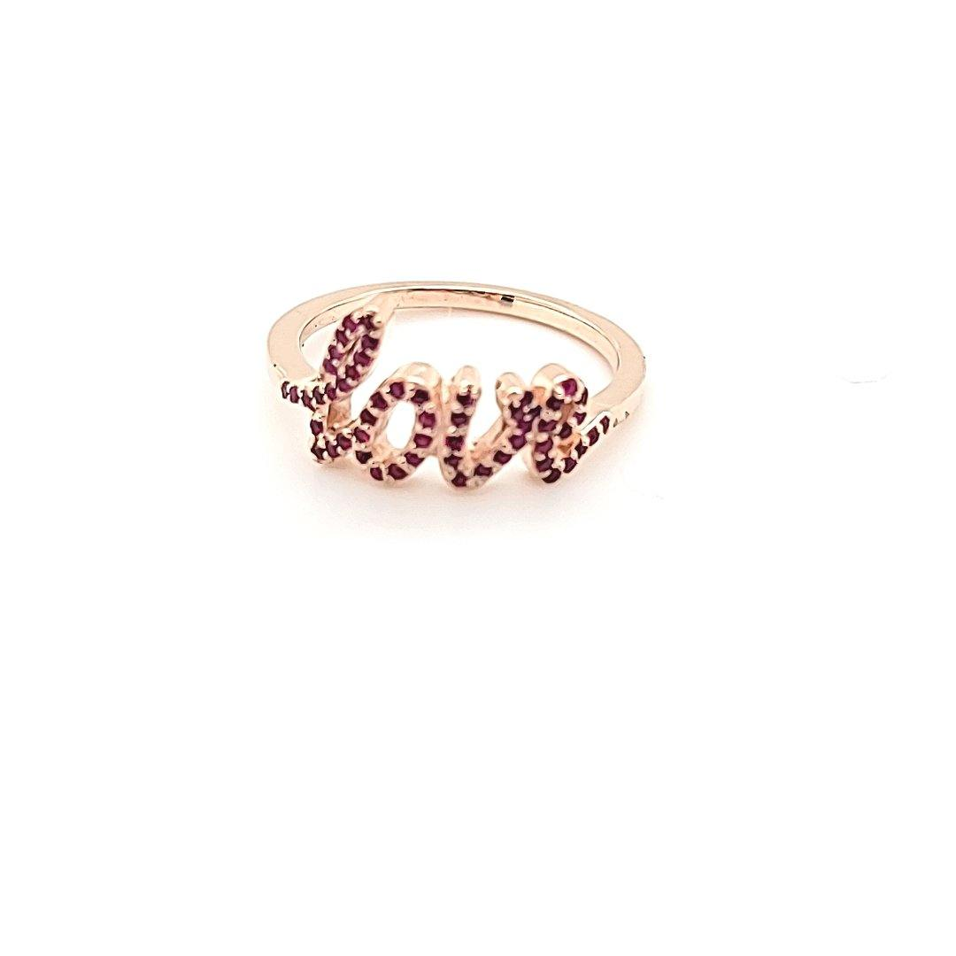Custom Designed 14K Rose Gold and Ruby Love Ring