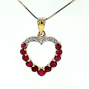 Vintage Ruby and Diamond Heart Necklace in 14K Gold