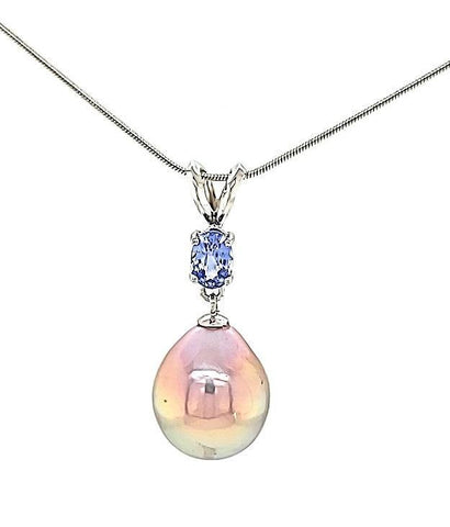 Exquisite Metallic Edison Drop Pearl and Lavender Sapphire Necklace in 14KW  Gold