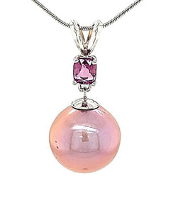 Round Metallic Edison Pearl and Pink Sapphire Necklace in 14KW  Gold