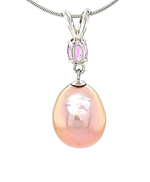 Metallic Edison Drop Pearl and Dark Pink Sapphire Necklace in 14KW  Gold