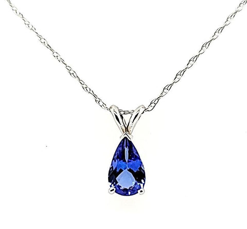 Pear Shape 1.13 ct Tanzanite Solitaire Pendant in 14K White Gold - Peters Vaults