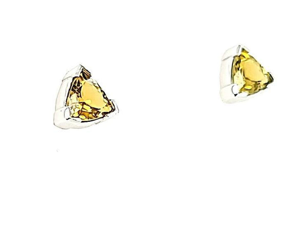 Super Rare Yellow Tourmaline Trillion Cut Stud Earrings in 14K - Peters Vaults