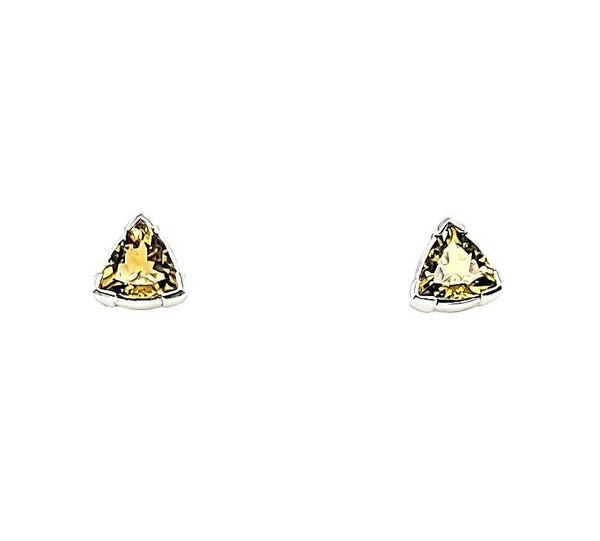 Super Rare Yellow Tourmaline Trillion Cut Stud Earrings in 14K