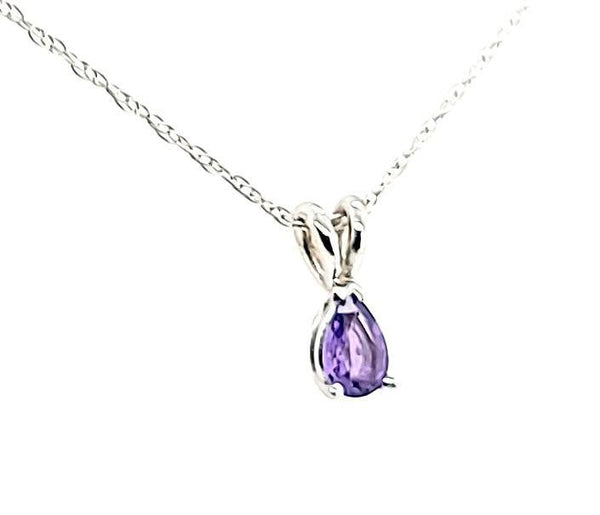 Super Rare Purple Sapphire Pear Shape Solitaire Necklace in 14K - Peters Vaults