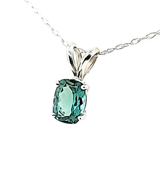 Extremely Rare Teal Colored Tourmaline Solitaire Necklace in 14K - Peters Vaults