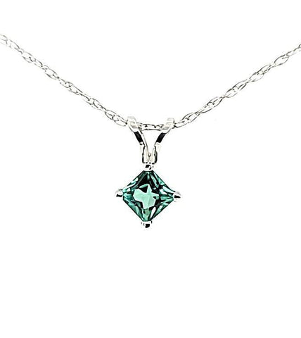 Extremely Rare Teal Colored Princess Cut Tourmaline Dainty Solitaire Necklace in 14K