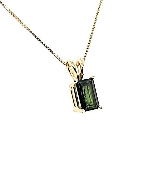 Beautiful Emerald Cut Dark Green Tourmaline Solitaire Necklace in 14K - Peters Vaults