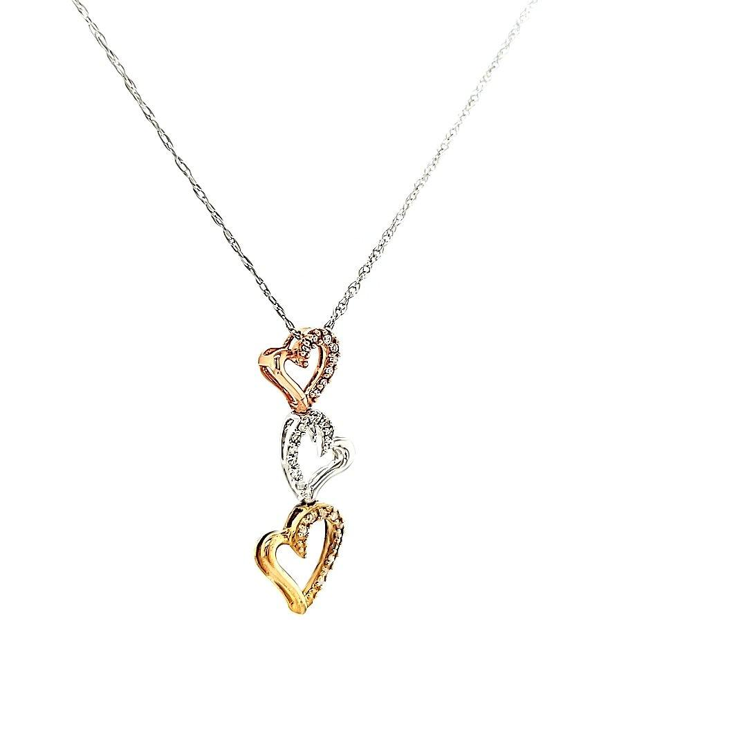 Fun & Inexpensive 3 heart Diamond Necklace in Sterling Silver