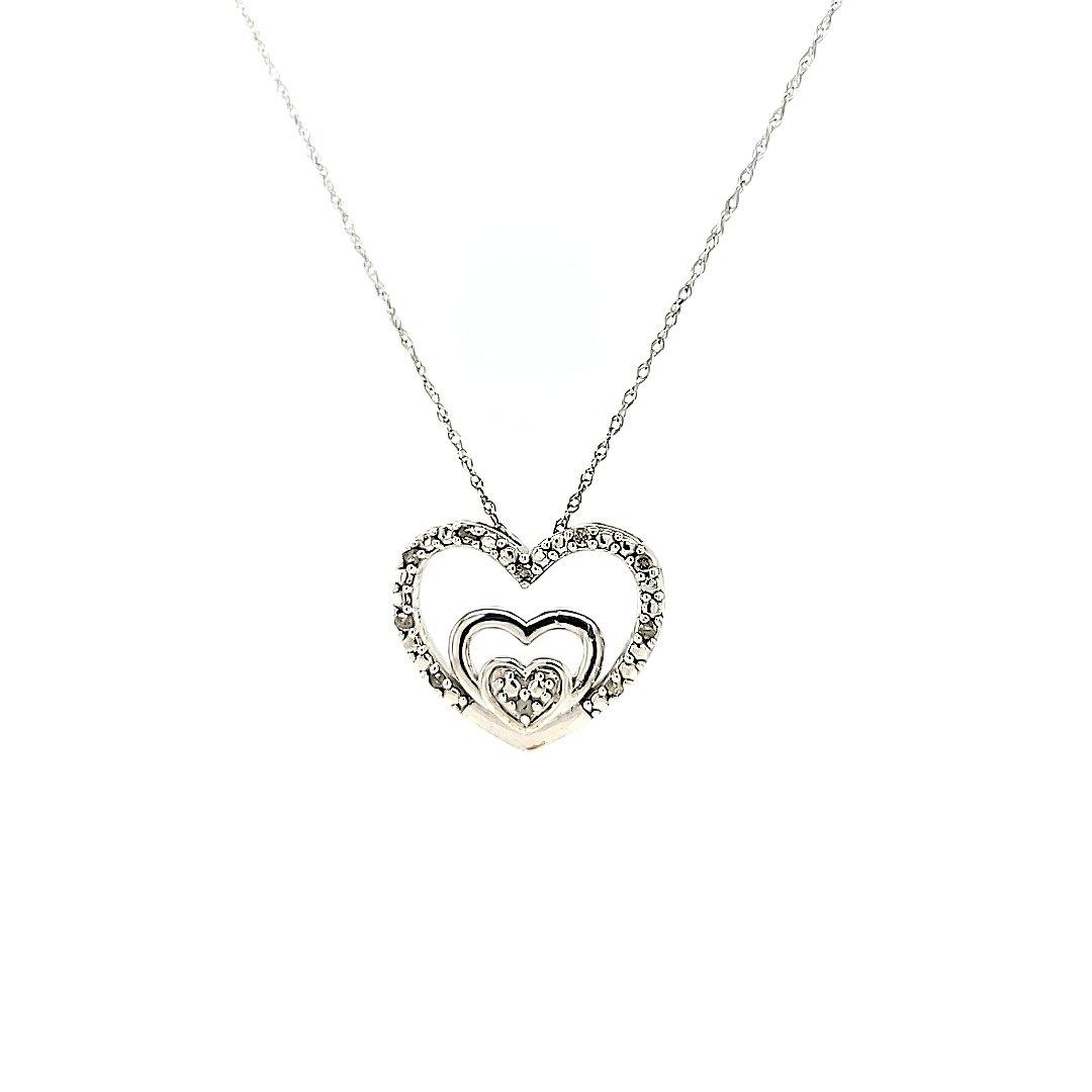 Fun & Inexpensive Heart Diamond Necklace in Sterling Silver