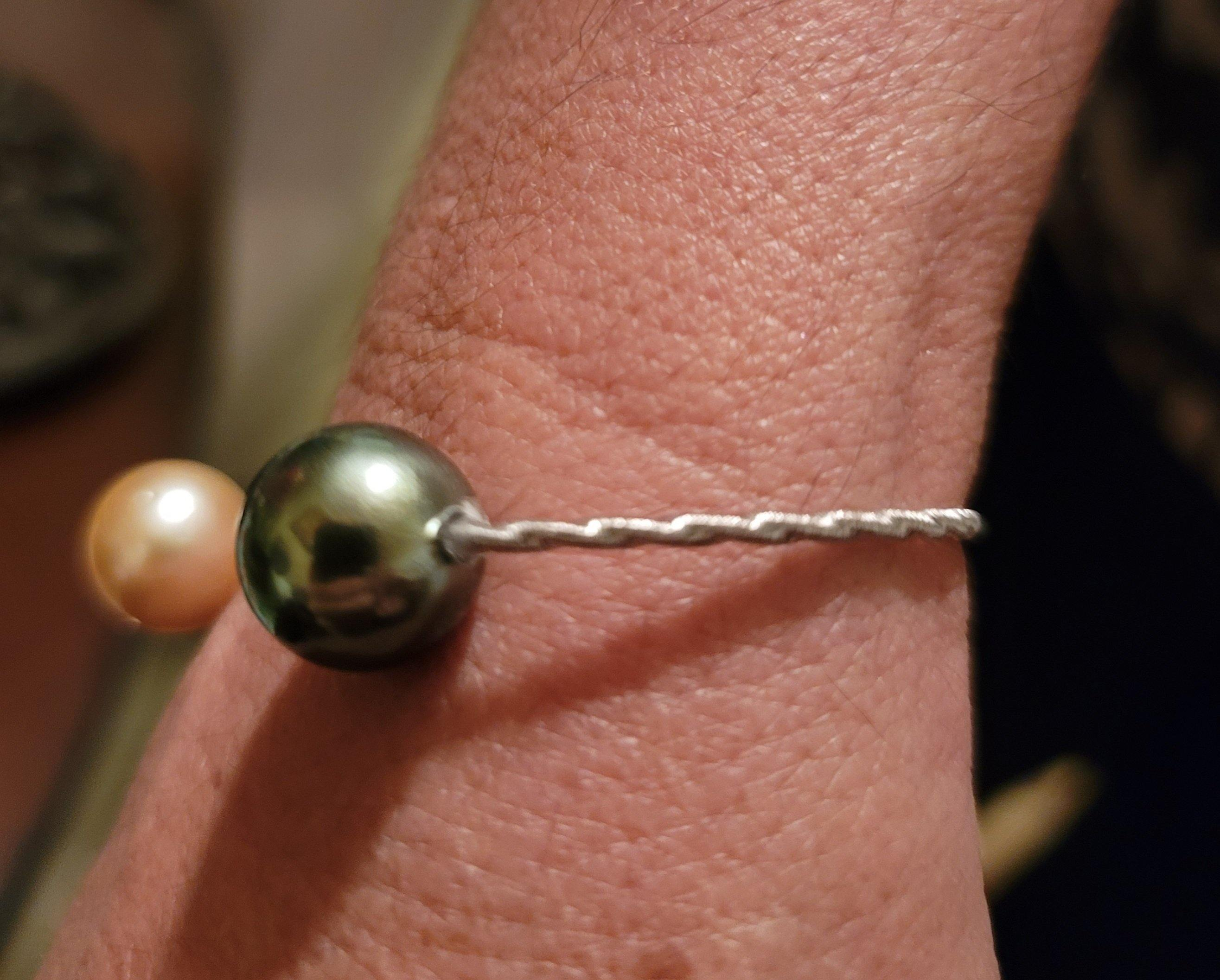 Tahitian & Golden South Sea Pearl Sterling Silver Bangle Bracelet