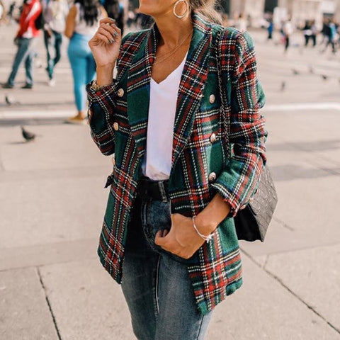 Sheinnow Fashion women's plaid print blazer