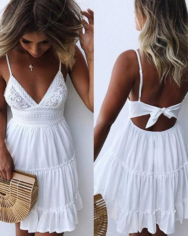 Sheinnow Sexy Lace Strap Stitching Vacation Dresses