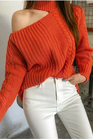 Sheinnow Casual Hollow Out Off-Shoulder Linen Knitted Sweater