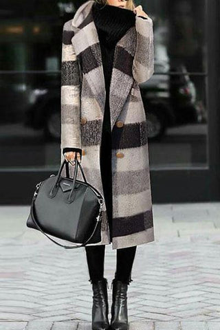 Sheinnow Fashion Black And White Plaid Woolen Coat