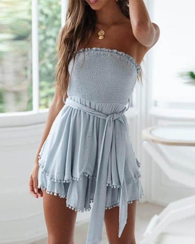 Sheinnow Cotton And Linen Ruffled Chest Strap Dress