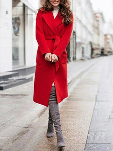 Sheinnow Fashion Lapel Lace-Up Coat