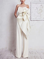 Sheinnow Elegant Round Neck Belted Pure Colour Sleeveless Jumpsuit