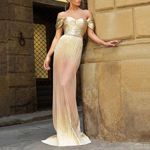 Sexy lady local gold mesh evening dress
