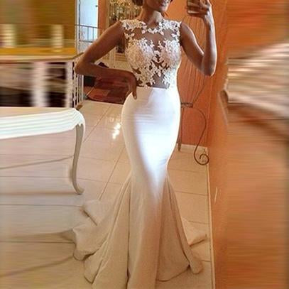 Shiennow Sexy Perspective Fishtail Sleeveless Waist Wedding Dress