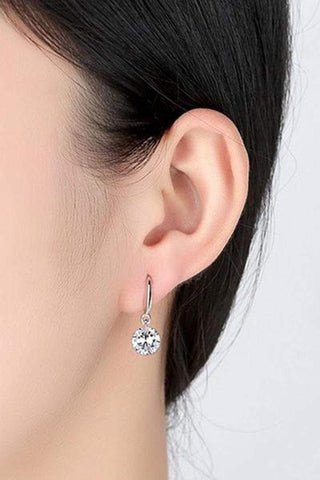 Sheinnow Pair Of Alloy Rhinestone Drop Earrings
