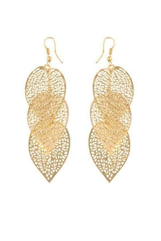Sheinnow Gold Hollow Out Metal Leaf Earrings