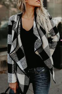 Sheinnow Fold Over Collar Asymmetric Hem Plaid Jackets