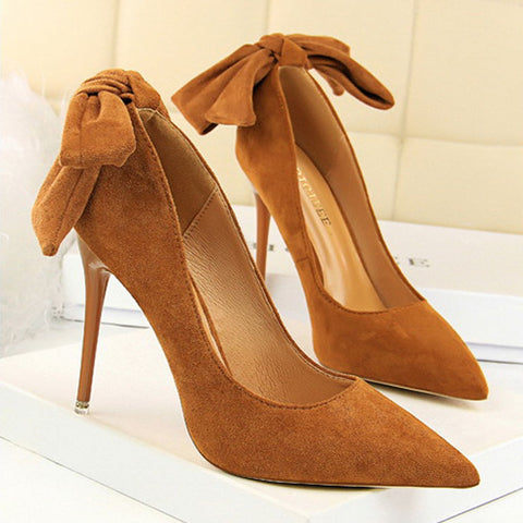Sheinnow Sweet Bow-Knot Pointed-Toe High Heels Shoes