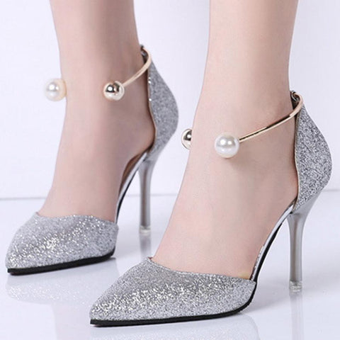 Sheinnow Stiletto  High Heeled  Ankle Strap  Point Toe  Date Event Pumps