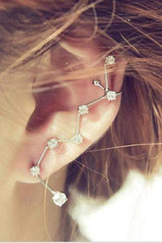 Sheinnow Fashion Women Earrings Big Dipper Geometric Rhinestone Ear Cuff Clip Ear Cuff Statement Earring Accessory