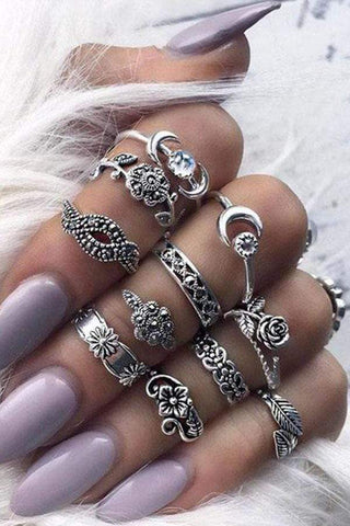 Sheinnow Bohemian Retro Alloy Carved Hollow 11 Sets Of Combination Rings