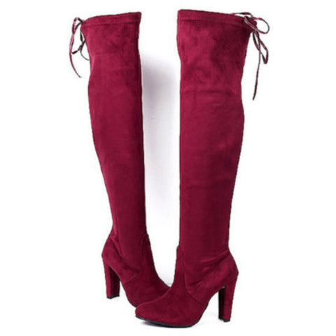 Sheinnow Plain High Heeled Velvet Round Toe Date Outdoor High Heels Boots