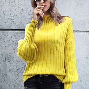 Sheinnow High Collar Sweater Solid Long Sleeve Pullover