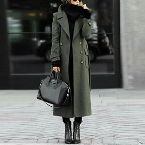 Sheinnow Green Trench Coat With Turn-Down Collar Elegant Wool Coat