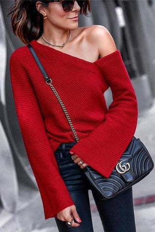 Sheinnow Autumn And Winter   Fashion Shoulder Pure Long Sleeve Sweater