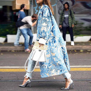 Sheinnow Floral Pattern Printed Long Sleeve Coat